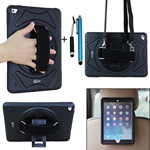 Cellular360 Apple iPad Air 2 Shockproof Case, Headrest Mount Holder with a 360 Degree Swivel Stand, a Hand Grip Handle and a Shoulder Strap (Apple iPad Air 2, Shoulder Case-Black) (Apple Ipad Air Mount 360)