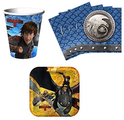 How to Train Your Dragon 2 Birthday Party Supplies Set Plates Napkins Cups Kit for 8 by Hallmark