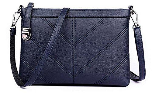 VogueZone009 Femme Travail Zippers Sacs ¨¤ main d'embrayage Sacs ¨¤ bandouli¨¨re, CCAFBO181534, Noir Bleu
