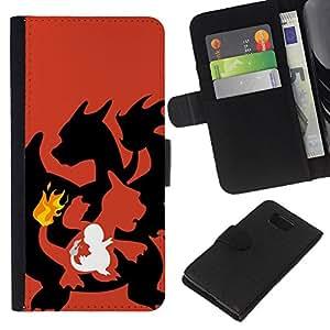 YiPhone /// Tirón de la caja Cartera de cuero con ranuras para tarjetas - Dragon Flame - Samsung ALPHA G850