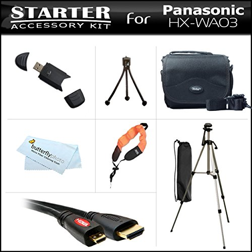 Starter Accessories Kit For The Panasonic HX-WA03 Dual Waterproof HD Digital Camcorder Includes Deluxe Carrying Case + 50 Tripod With Case + Micro HDMI Cable + USB 2.0 Card Reader + FLOAT STRAP + Mini TableTop Tripod + MicroFiber Cleaning Cloth by ButterflyPhoto