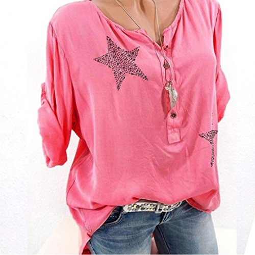 Amazon.com: Long Sleeve Shirt Women, Casual Plus Size Floral Tops Button Blouse Tops Tunic Crop Tops T Shirt Clothing (Dark Blue, XL) (White, M): Arts, ...