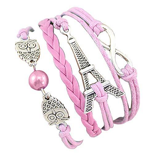 (Ameesi Faux Leather Bracelet Owl Eiffel Tower Infinity Chain Multi Layers Bangle Charm Jewelry Women Lady Girl Gift)