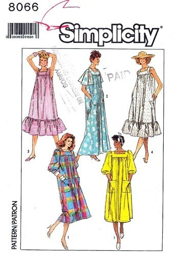 Simplicity 8066 Vintage Sewing Pattern, Misses' Muu Muu, Loose Fitting Dress in Two Lengths, Check offers for Size (Ruffle Muumuu)