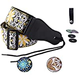 Colorful Guitar Strap Jacquard Ribbon Leather End Woven Strap Adjusted Length for Electric Bass,Acoustic&Electric Guitar - With (Random Color)2 Guitar Picks&2 Strap Locks&1 Strap Hook Button