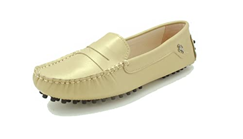 e59956ab6ce Image Unavailable. Image not available for. Colour  MINITOO Girls Ladies  Slip On Champagne Leather Driving Penny Loafers ...