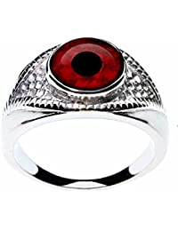 Jewelers Exotic Glass Eye Ring Designed for Men or Women - Choose from 21 Dramatic Animal or Fantasy Eyes in a Unique Eye-Shaped Stainless Steel Setting