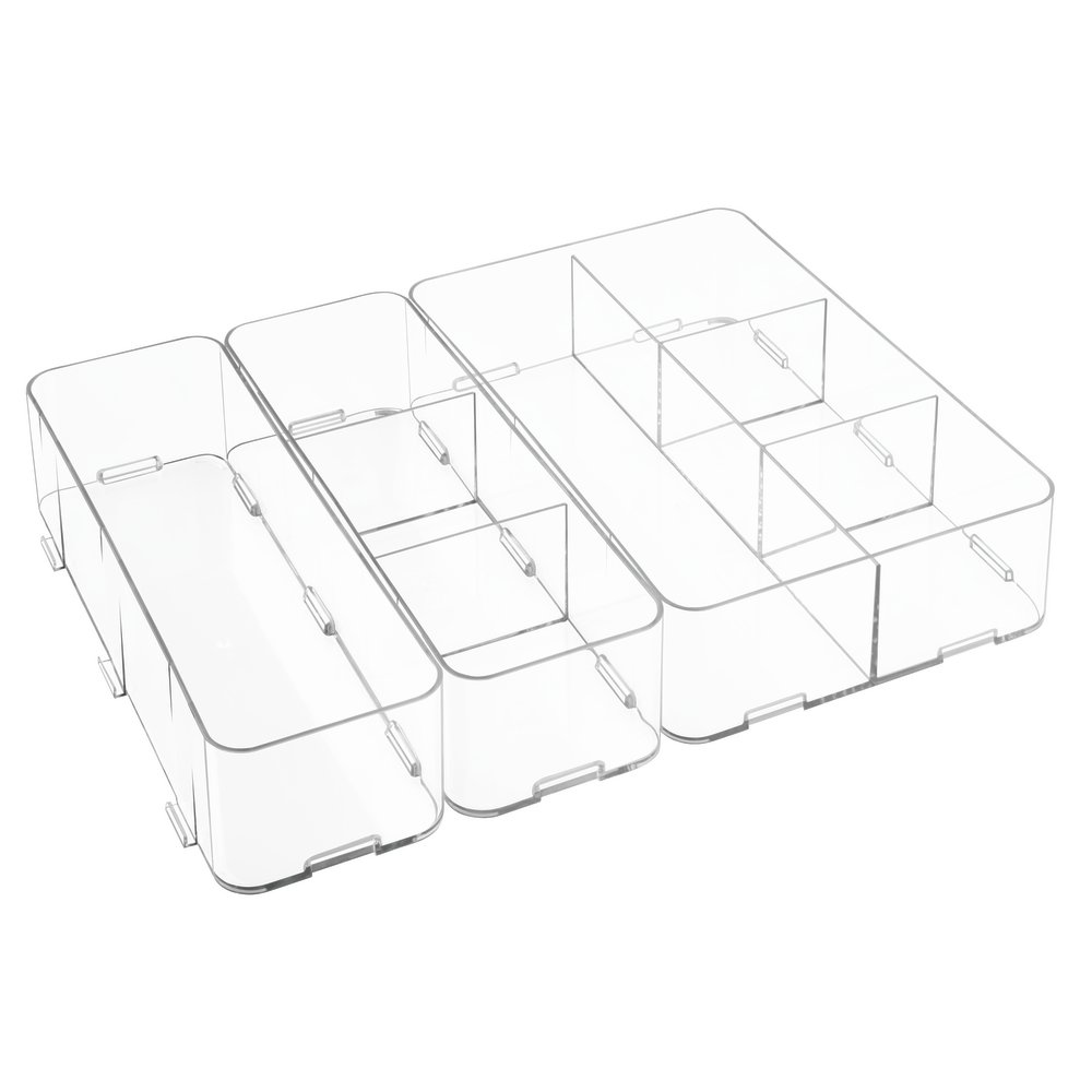 InterDesign Clarity Interlocking drawer Organizer for Soap, Cosmetics, Beauty Products - 3 Piece Set, Clear