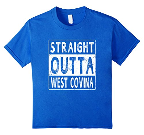 Kids Straight Outta West Covina USA City State T-shirt Funny Gift 6 Royal (City Of Covina Jobs)