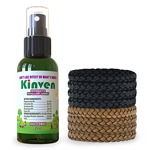 Kinven Anti Mosquito Repellent Bundle - Mosquito Repellent Bracelet & Insect Spray, Waterproof, Natural, DEET-Free, Indoor & Outdoor Protection (2oz Spray Bottle + 8 Bracelets, Brown/Black)