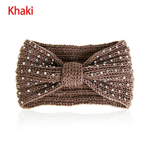 Measurement Smart Bookmarks - Ear Warmer Head Wrap Winter Knit Headband Crochet Hair Band Bead Rhinestone (Color - khaki)