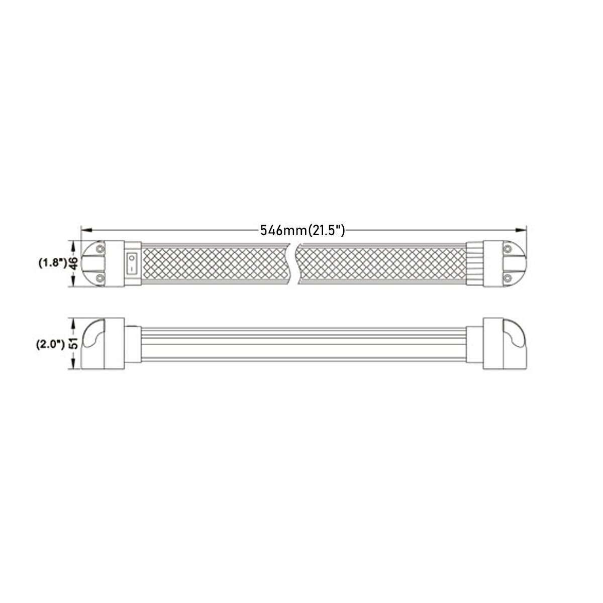 1 Pack Lightronic Heavy-Duty 30 Inch 18W 1260 Lumens 6000K 180/° Rotating LED Light Fixture with Rocker Switch