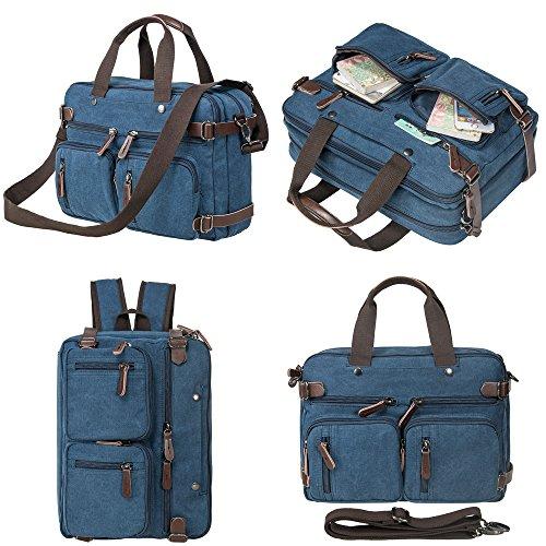 HIKA Vintage 3-Way Convertible Briefcase Laptop Backpack Messenger Bag Backpack-Vintage Blue (Widescreen Notebook Bag)