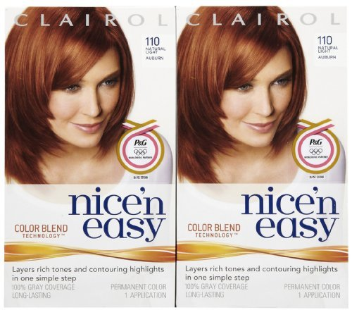 Clairol Nice 'n Easy Hair Color, Natural Light Auburn (110), 2 pk by (Auburn 2 Light)