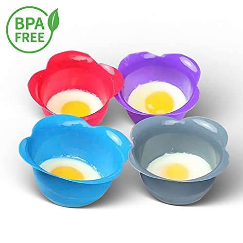 4 Cup Egg Poacher (Silicone Egg Poacher Cups – Set of 4 BPA Free Non-Stick Poaching Pods for Cooking Perfect Poached Eggs – Microwave or Stovetop Egg Cooker - Includes Bonus Recipe eBook)