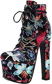 Latasa Women's Flowers Platform High Heel Ankle Boo
