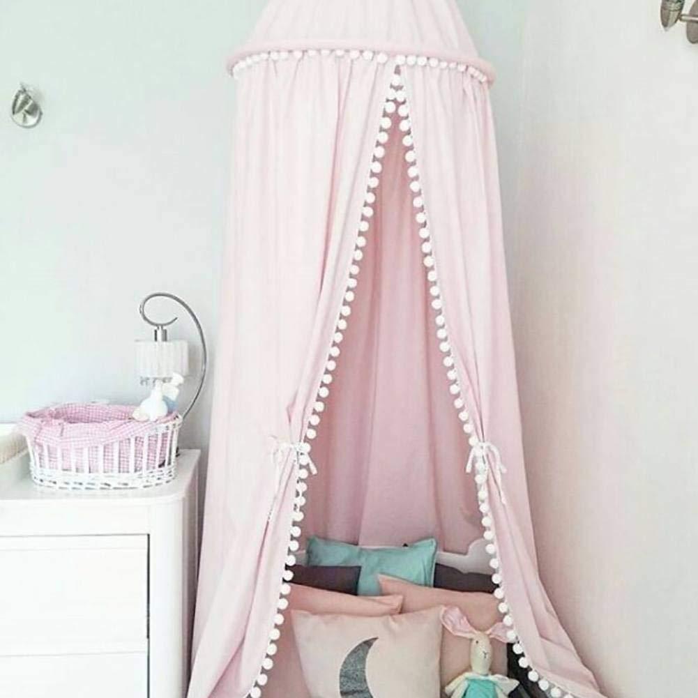 Kinderzimmer-Moskitonetz mit Haarballen-Deko Bett/überdachung Rosa und Wei/ß Princess Style