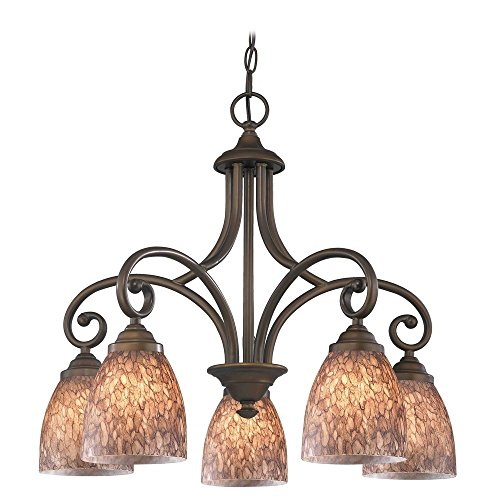 Chandelier with Brown Glass in Bronze Finish - Beaumont Ceiling Chandelier