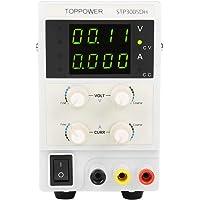 Fuente de alimentación DC regulada, Skytoppower STP3005DH regulable DC 0 – 30 V 0 – 5 A 110/220 V Fuente de alimentación digital ajustable de 4 dígitos de precisión 0,001 A 0,01 V, US Plug