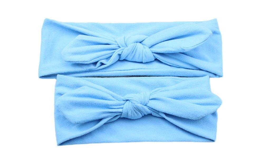 CAOLATOR Haarb/änder Mutter Baby Kaninchen Ohr Haar Trimm Stirnband Geknotete Fliege Elastischer Baumwollg/ürtel Haarband Weich und Bequem Baby Stirnband Kopfband Haarschmuck Blau