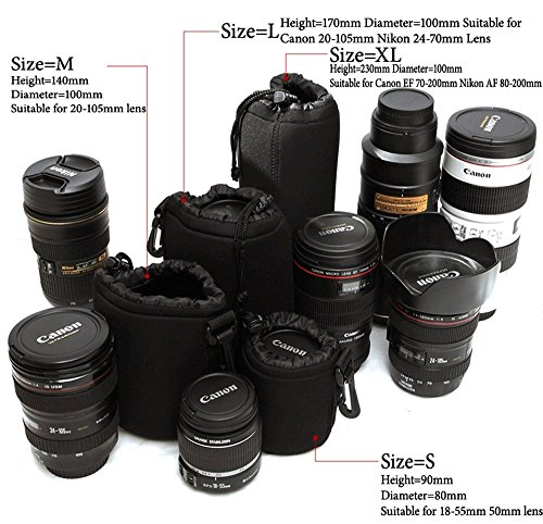 Lightdow 4pcs Pack Lens Pouch 5mm Thick Soft Neoprene DSLR Lens Bag