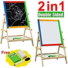 go2buy Kids Deluxe Double-sided Easel,Black Chalk Board/White Dry Ease Board,Small