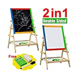Kids Bedroom Wooden Double Sided Easel Chalk Drawing Board Children Learning Board