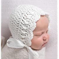 Newborn Baby Bonnet, White Newborn Girl Crochet Hat, Newborn Photography Prop