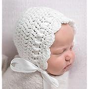 Newborn Baby Bonnet, White Newborn Girl Crochet Hat, Newborn Photography Prop