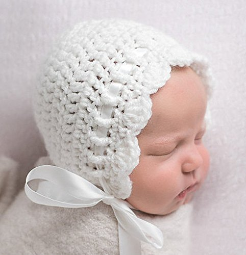Amazoncom Newborn Baby Bonnet White Newborn Girl Crochet Hat
