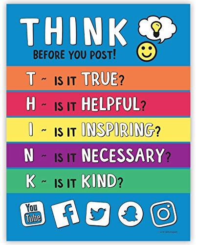 (Think Before You Post - Bullying Prevention Inspirational Classroom Poster - 17 x 22 in. - Laminated)