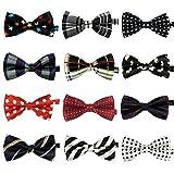 LilMents 12 Pack Boys Mixed Designs Adjustable Pre Tied Bow Necktie Tie Set (Set A)