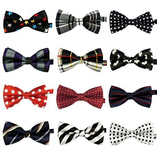 LilMents 12 Pack Boys Mixed Designs Adjustable Pre Tied Bow Necktie Tie Set (Set A) by LilMents