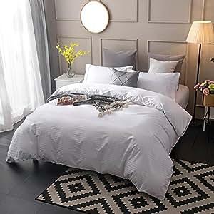 Lausonhouse Classic 300TC Cotton Sateen Stripe Quilt Cover Set - White - King