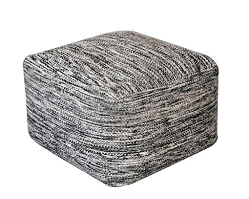 Rugs2Clear Hand Made Without Filler Black/ Grey Wool Muse Pouf(55cm X 55cm X