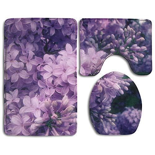 Non Slip Absorbent Water Bathroom Rug Toilet Sets, Purple Floral Lilac Prints Non-Slip Bathroom Rugs 3 Piece Set Anti-Skid Pads Bath Mat + Toilet Lid Cover + Contour