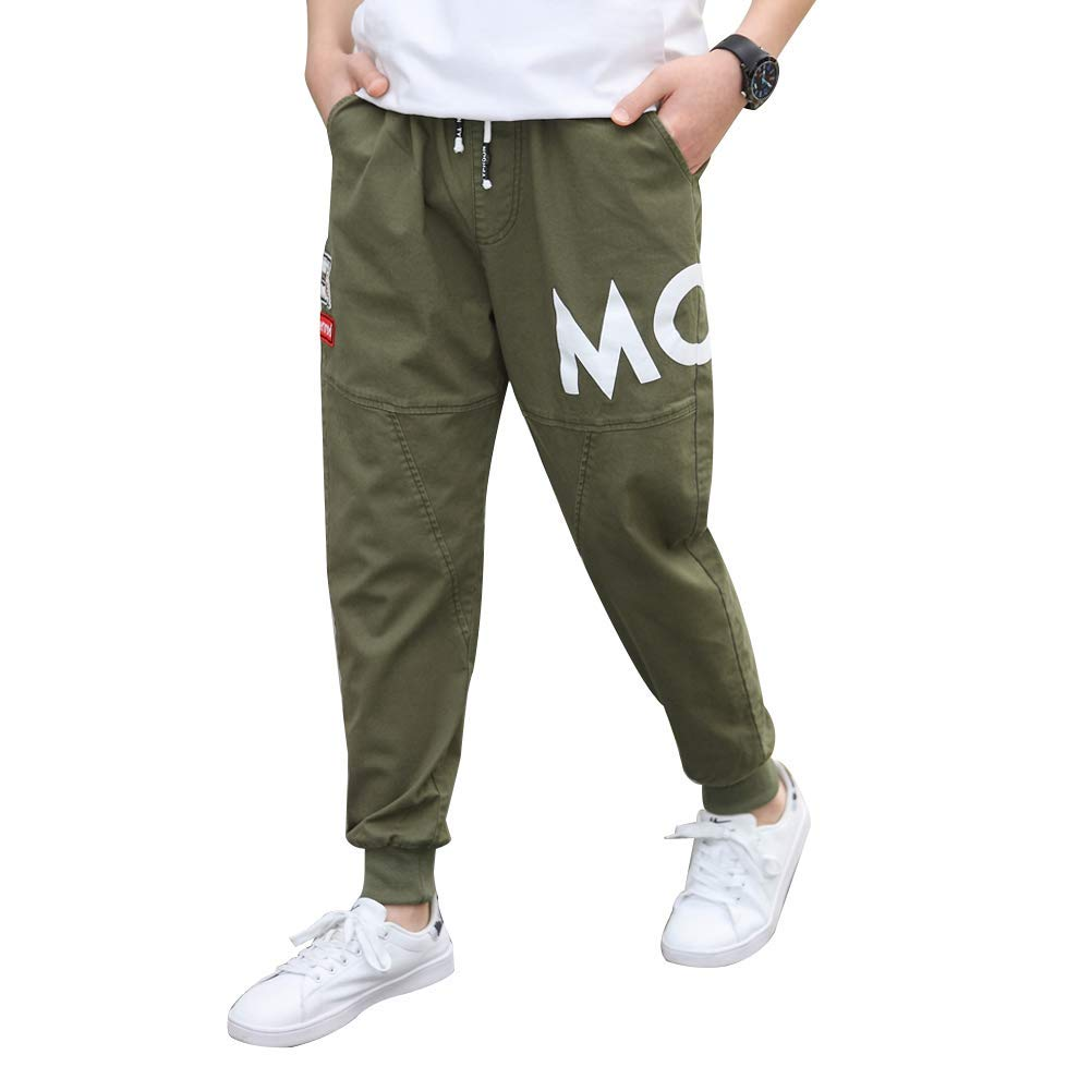 childdkivy Kids Big Boys Casual Pants Active Outwear Bottoms Army Green 170 812D by childdkivy