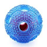 Interactive Dog Toys by WarmPets,Dispenser Dog Toy/Dog IQ Treat Ball/Dog Treat Puzzle Nontoxic Themoplastic Rubber Material 2.8 Inch,Blue