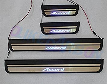 For Honda Accord 2008-2012 Blue LED Light Stainless Door Sill plate Guard
