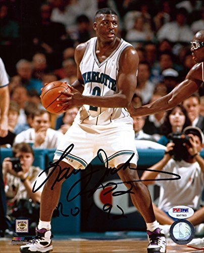(LARRY JOHNSON AUTOGRAPHED 8X10 PHOTO CHARLOTTE HORNETS