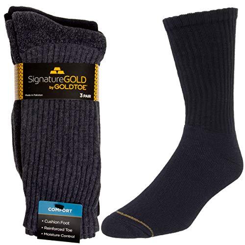 - Gold Toe (3 Pairs) Mens Socks Crew Shoe Size 6-12 Black Moisture Wicking Socks Men Over The Calf