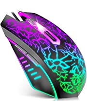 VersionTECH. Gaming Mouse, Souris Ergonomic Wired Gaming Mice with 7 Colors LED Backlight, 4 DPI Settings Up to 3600 DPI Computer Mouse for Laptop PC Games & Work Compatible for Chromebook Windows 7/8/10/XP/Mac/Linux Gamer/Notebook /Macbook– Black