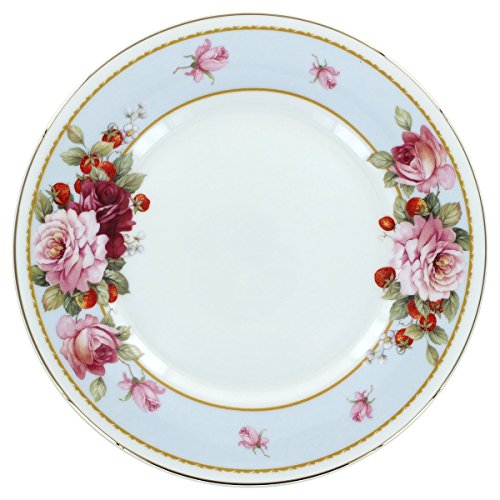 Peony and Strawberry Blue Bone China - Dessert Plates - Set of (Blue Peony Dinnerware)