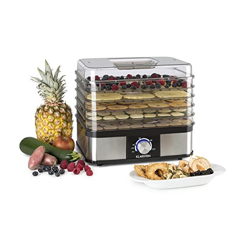 Klarstein Valle Deluxe Dehydrator Automatic Dehydrator Fruit Dryer 5 Drying Levels 250 Watts Power Adjustable Temperature Separable Construction Easy Cleaning Space Saving Silver Buy Online In India At Desertcart In Productid 48776082