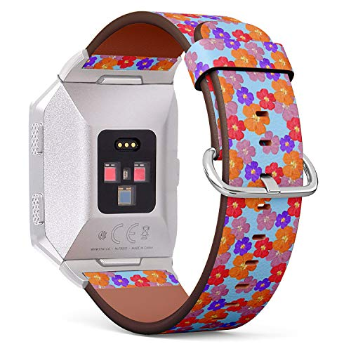 Compatible with Fitbit Ionic - Leather Band Bracelet Strap Wristband Replacement with Adapters - Briar Wild Rose Texture Flowers