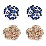 ElegantPark 2 Pairs Decorative Shoe Clips Crystal Jewelry Charms Buckle for Wedding Party Decoration Gold & Navy Blue