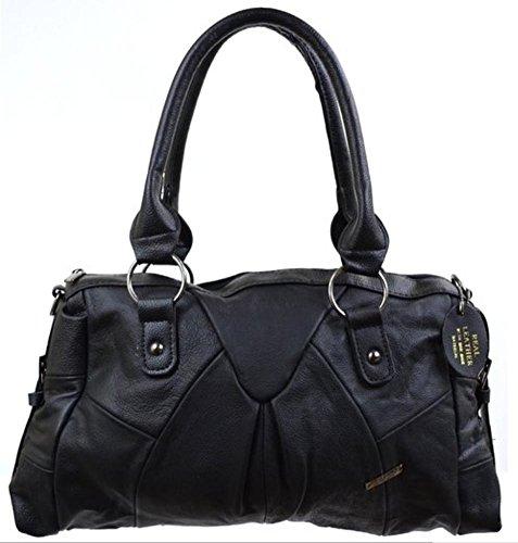Tan Shoulder Strap with Adjustable Design Ladies Bag Black Brown Buckle Dark Detachable Shoulder Side Fawn Leather Black gqwqf57