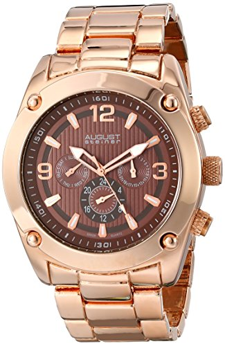 Gold Dial Multifunction (August Steiner Men's AS8129RG Rose Gold Multifunction Swiss Quartz Watch with Brown Dial and Rose Gold Bracelet)
