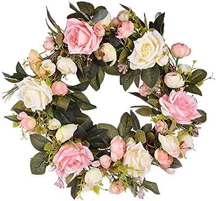 Artificial Rose Flower Wreath 13 Inch Fake Rose Spring Wreath Wedding Home Décor