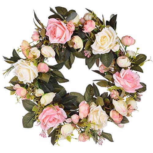 Lvydec Artificial Rose Flower Wreath - Door Wreath 13 Inch Fake Rose Spring Wreath for Front Door, Wall, Wedding, Home Décor]()